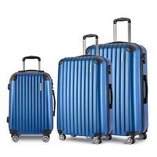 Wanderlite 3 Piece Luggage Set W/ TSA Locks Dual Wheels Pull Rod Blue