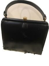 Vintage Coblentz Original 1970s Black Patent Leather Handbag + Coin Purse Mirror