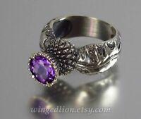 Vintage Round Amethyst 925 Silver Ring Anniversary Wedding Women Jewelry Sz 7-13