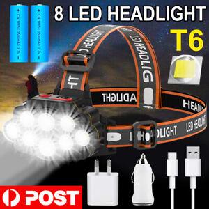 100000LM 8LED T6 Headlamp Headlight Torch Rechargeable Flashlight Work Light AU