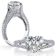Dazzling Natural Heart Cut Split Shank Micro Pave Diamond Engagement Ring - GIA
