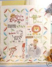 Stamped Cross Stitch Crib Quilt Baby Boy Frog Zebra Monkey Little Explorer New