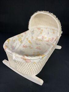 Vintage 1976 White Wood & Wicker Rocking Baby Doll Bed, Cradle, Bassinette