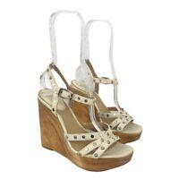 Frye Womens Size 7 White Leather Bridget Studded Wedge Sandal