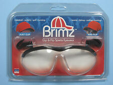 Flip Up Glasses Brimz Clip On Sports Eyewear Clear Ice Clamshell Lenses NEW