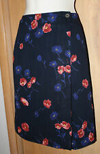 HAROLD'S Wrap Skirt Sz 4 Fully Lined Dark Navy Floral Print