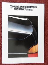 BMW 7 Series 1991 1992 UK Market Colours & Upholstery brochure