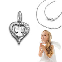 Kinder Zirkonia Herz Anhänger mit beweglichem Schutz Engel mit Kette Silber 925