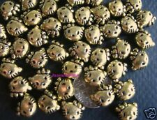 100 GOLD KITTY Cat Necklace Bracelet Charms Beads HELLO