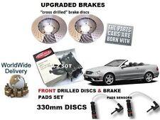 FOR MERCEDES CLK200 SPORT 2003> FRONT DRILLED BRAKE DISC SET & PAD KIT+ SENSOR