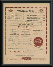 1950s Woolworth Lunch Counter Menu Reprint On 60 Year Old Paper *P189