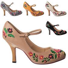 Zapatos de tacón alto Dancing días Kalocsai Floral Boho Folk 1970s Retro Vintage De Tacón Alto
