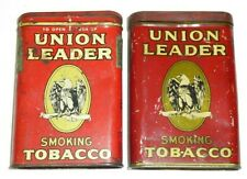 Vintage Union Leader Tobacco Tin Victory Package Pocket Tin Smoking Eagle Lot 2