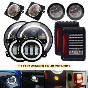 10X DOT LED Headlights+Fog Lights+Turn Signal+Fender Lamp+Tail light For Jeep JK