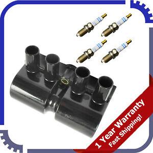 For Isuzu Rodeo Amigo 2.2L 5PCS Bosch Platinum Spark Plug & UF356 Ignition Coil