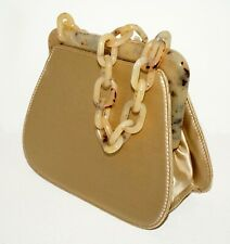 Vintage Italy Gold Silk Mini Purse w Acrylic Top and Link Handle by Prada (LeP)