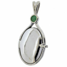 Collares y colgantes de joyería con gemas naturales de plata de ley esmeralda