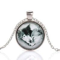 Vintage Wolf Couple Cabochon Tibetan Silver Glass Chain Pendant Necklace NEW