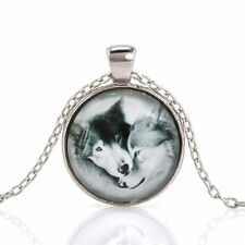 Vintage Wolf Couple Cabochon Tibetan Silver Glass Chain Pendant Necklace NEW