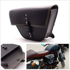 1*Triangle Black PU Leather Motorcycle Side Saddle Bag For Cafe Racer ATV Bikes