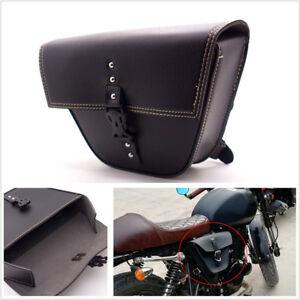 1*Triangle Black PU Leather Motorcycle Side Saddle Bag For Cafe Racer ATV Bikes