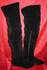 Over-The-Knee Boots UK7-8 EU41 Black Faux Suede Ruched Cuffed Flats Zips BNIB