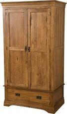 French Rustic Solid Oak 2 Door Double Gents Wardrobe with 1 Drawer Bedroom