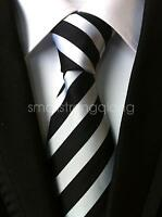 New Mens Classic Silk Black Striped Tie Necktie JACQUARD Neck Ties