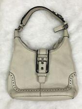 Coach Hampton Ivory Pebbled Leather Hobo Strap Shoulder Handbag Purse #5053 EUC