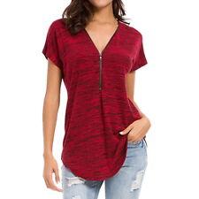 New Womens Zipper Short Sleeved T-shirt Deep V Neck Blouse Pullovers Shirt 6-16