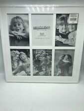 "Aaron Brothers Picture Frame White 6 Openings 4 X 6 Steinbeck Thin New 14"" x 14"""