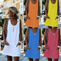 UK Women Dress Boho Blouse Shirt Sleeveless Pocket Ladies Dresses Summer Beach