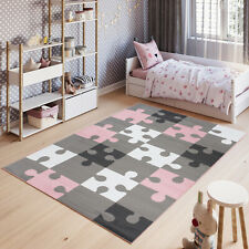 New Pink Grey Kid's Rug Puzzle Pattern Children's Bedroom Small Large Play Mat