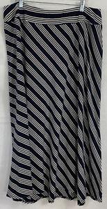 Talbots Plus Size 2X Black White Diagonal Striped Maxi Skirt Elastic Waist Flare