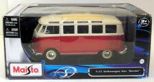 Maisto 1/25 Scale Model Van 31900 - Volkswagen Van Samba - Cream Red