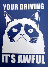 """Grumpy cat """"your driving its awful"""" car van bumper window decal 5100 white"""