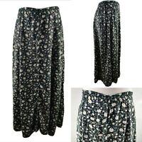 Vintage Skirt Long Floral Print Ditsy Button Front High Waist Blogger M UK 12