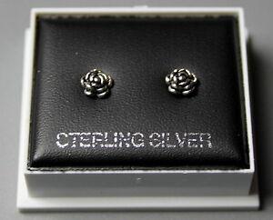 STERLING SILVER 925 STUD EARRINGS  ROSE FLOWER  BUTTERFLY BACKS STUD 103