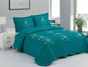 3Pcs Embroidery Quilts Bedspreads Set Bedding Coverlet Set  Laapaz