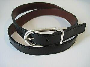 Michael Kors MK Belt Silver Buckle Black Brown Reversible Size L Excellent!