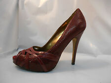 Charles by Charles David Maroon Patent Snake Pattern Leather Peep Toe Heels 9.5