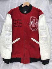 XL DRAKE OVO XO ROOTS 2011 RED WHITE BISON LEATHER WOOL VARSITY JACKET 1/10 MADE
