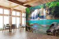 3D Waterfall in Deep Forest Self-adhesive Kid's Bedroom Wall Murals Wallpaper