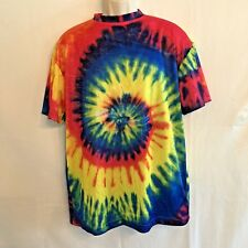 Rainbow Spiral Tie Dye T-Shirt Tee XL Festival Hippie Polyester Short Sleeves