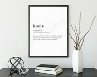 Home Definition Noun Print Framed Typography Poster Black White WordArt Picture