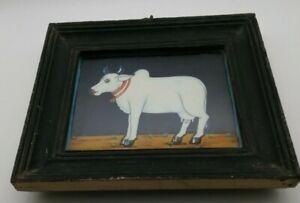 Raj Tent Club Vintage Sacred Holy Cow Wooden Framed Glazed Indian Art