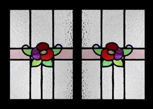 Pretty Art Nouveau Floral Pair Antique English Stained Glass Windows