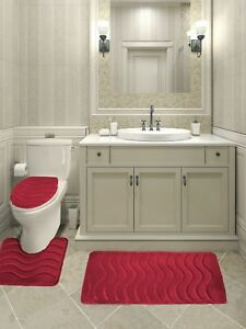 3-Piece Wave Solid Bathroom Rug Set Memory Foam Bath Mats - NEW ARRIVAL SALE!!!!