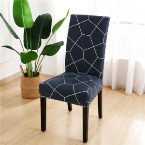 Printed Chair Cover Spandex Dining Office Seat Slipcover Washable Universal Size