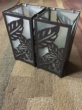 Candle Holders Set Frosted Glass Shade Metal Plant Leaf Motif Opaque Design Pair